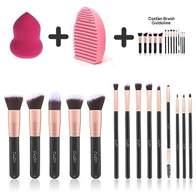 14 piezas Maquillaje cepillos en polvo Fundación Corrector Eyeliner Maquillaje Pincel Set Cosméticos Herramienta con Belleza Esponja Blender Limpiador Oro Rosa