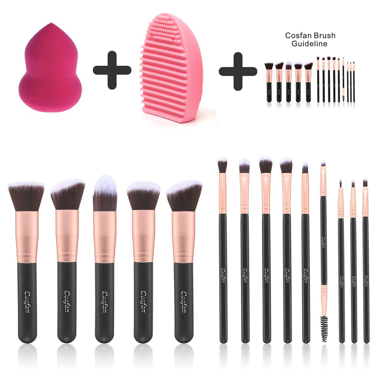 Makeup Brushes Powder Foundation Concealer Eyeliner Makeup Brush Set Cosmetics Tool (14 PCS Rose Gold) COSFAN