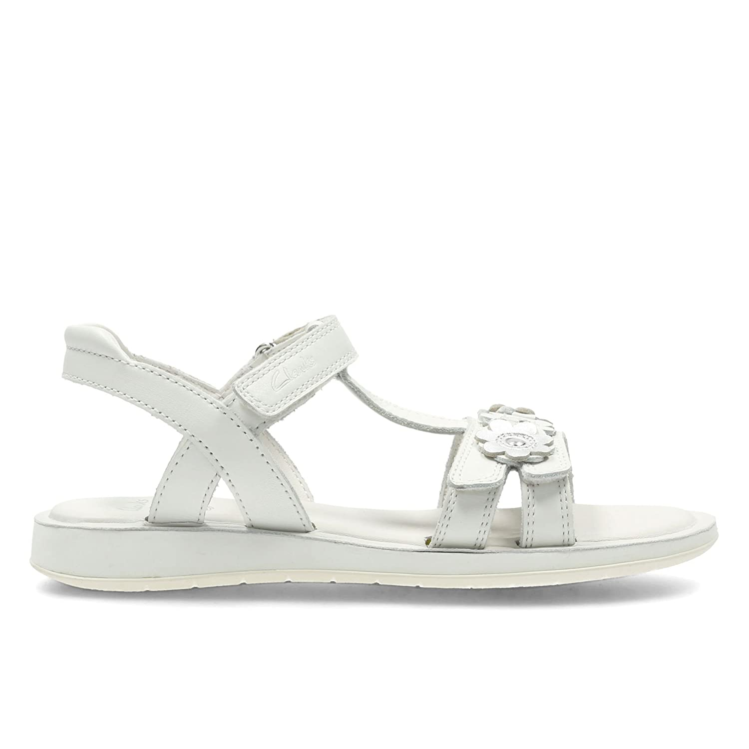 0073fb0da16 Clarks Girls Gladiator Style Sandals with Flower Detail Sea Sally - White  Leather - UK Size 13.5F - EU Size 32.5 - US Size 1M  Amazon.co.uk  Shoes    Bags