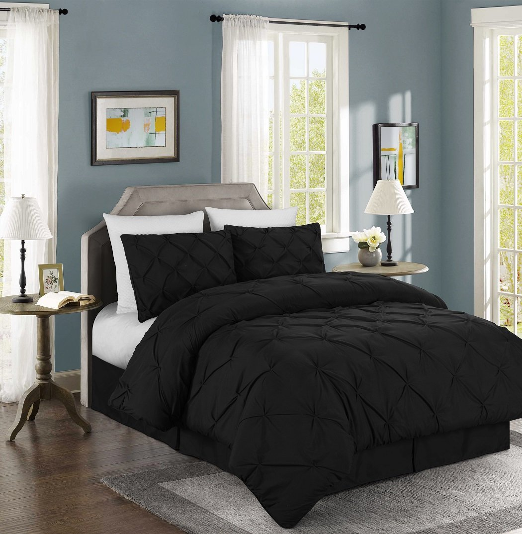 Chezmoi Collection Berlin 4-piece Pintuck Bedding Comforter Set