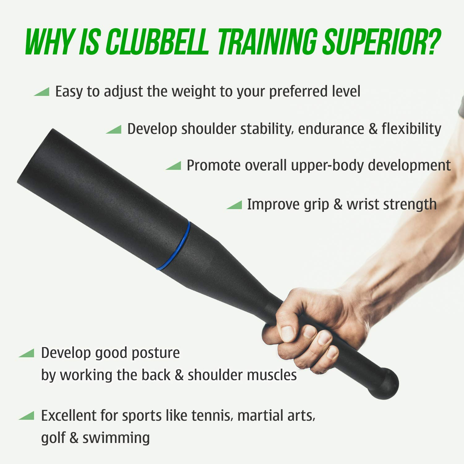 Intermediate 3 Levels 26.5lbs 15.4lbs 8.8lbs Yes4All Adjustable Clubbell Beginner /& Advanced