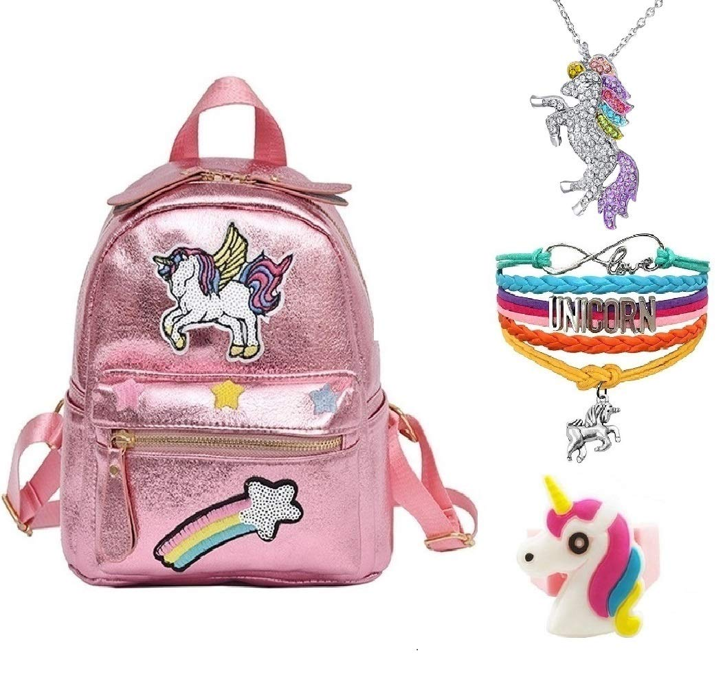 Fanovo Pink Rainbow Unicorn Backpack, Mini Travel Backpack, Shiny Backpack for Girls, Super Cool Leather Daypack + Unicorn/Bracelet/Inspirational Necklace/Ring (Pink Backpack)
