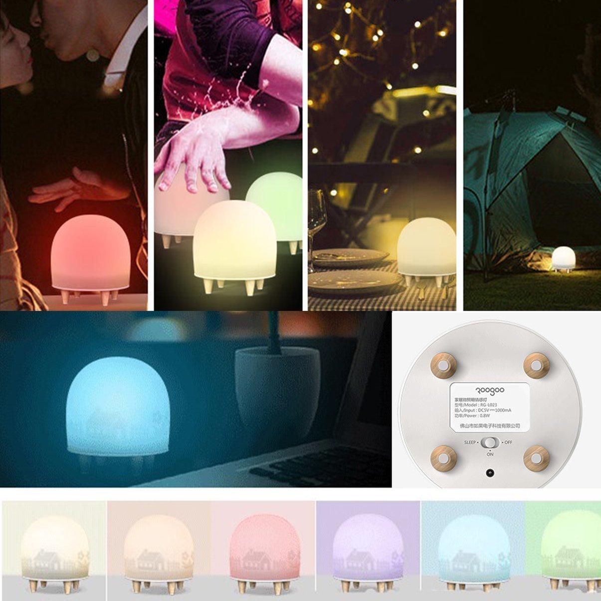 USB que carga la lámpara de emergencia casera Sensor de movimiento LED luz de la noche para los niños Cuarto de la guardería con tres modos y pies ...