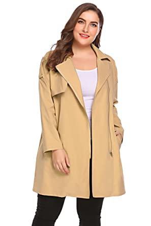 1f80047e871 Image Unavailable. Image not available for. Color  Zeagoo Women Plus Size  Asymmetrical Zip Down Casual Light Weight Trench Coat Outdoor Fall Jacket