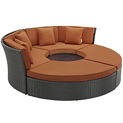 Amazon.com: modway Sojourn mimbre 4 piezas Daybed al aire ...