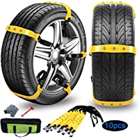 Tire Chains Anti Slip Tire Chains Snow Tire Chains Car Emergency Thickening Anti-Skid Chain Fit for Most Car/SUV/Vans…