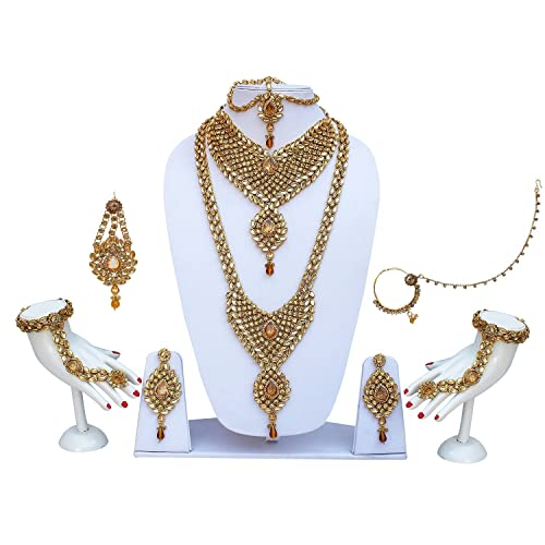 b851cacd1 Buy Lucky Jewellery 9 Pcs Lct Metal Alloy Kundan   Cz Stone Bridal Jewellery  Set For Women Online at Low Prices in India