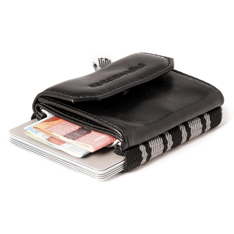 Space Wallet Push Mini Geldbeutel aus Leder - Bis zu 15 Kreditkarten/EC-Karten im Kartenfach + komplettes Münzfach + Fach für Scheine - Handgemacht in Europa - Farbe Black Chocolate BLACKCHOCOLATEPUSH170
