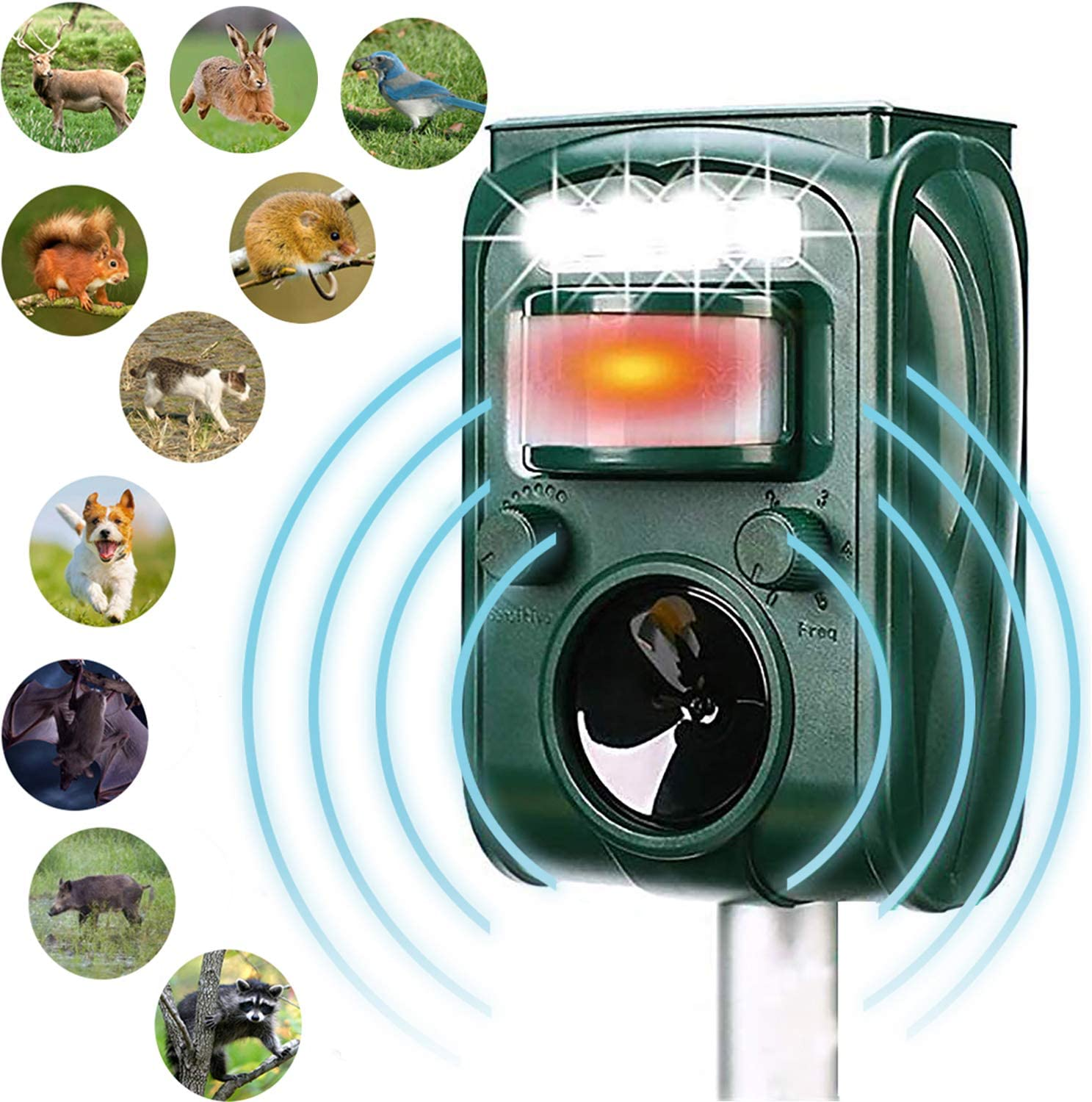 MCAIOX Ultrasonic Repeller, Solar Powered Waterproof Outdoor Animal Repeller with Ultrasonic Sound,Motion Sensor and Flashing Light Repeller for Cats, Dogs,Repel-pesticides