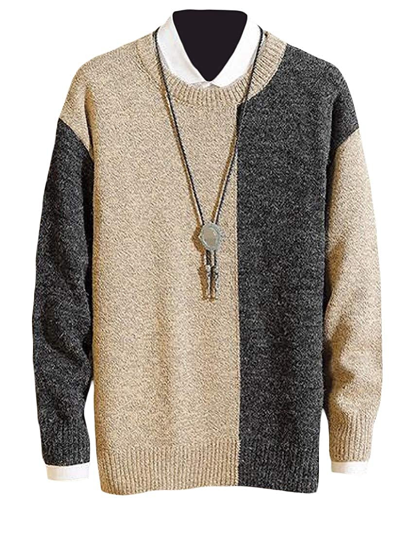 Etecredpow Mens Casual Color Block Thicken Pullover Long Sleeve Crewneck Jumper Sweaters