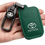 Car Key Case - Genuine Leather Protector Keychain suit for toyota Car Remote key Holder Cover Suif for 2018 2017 2016 Toyota