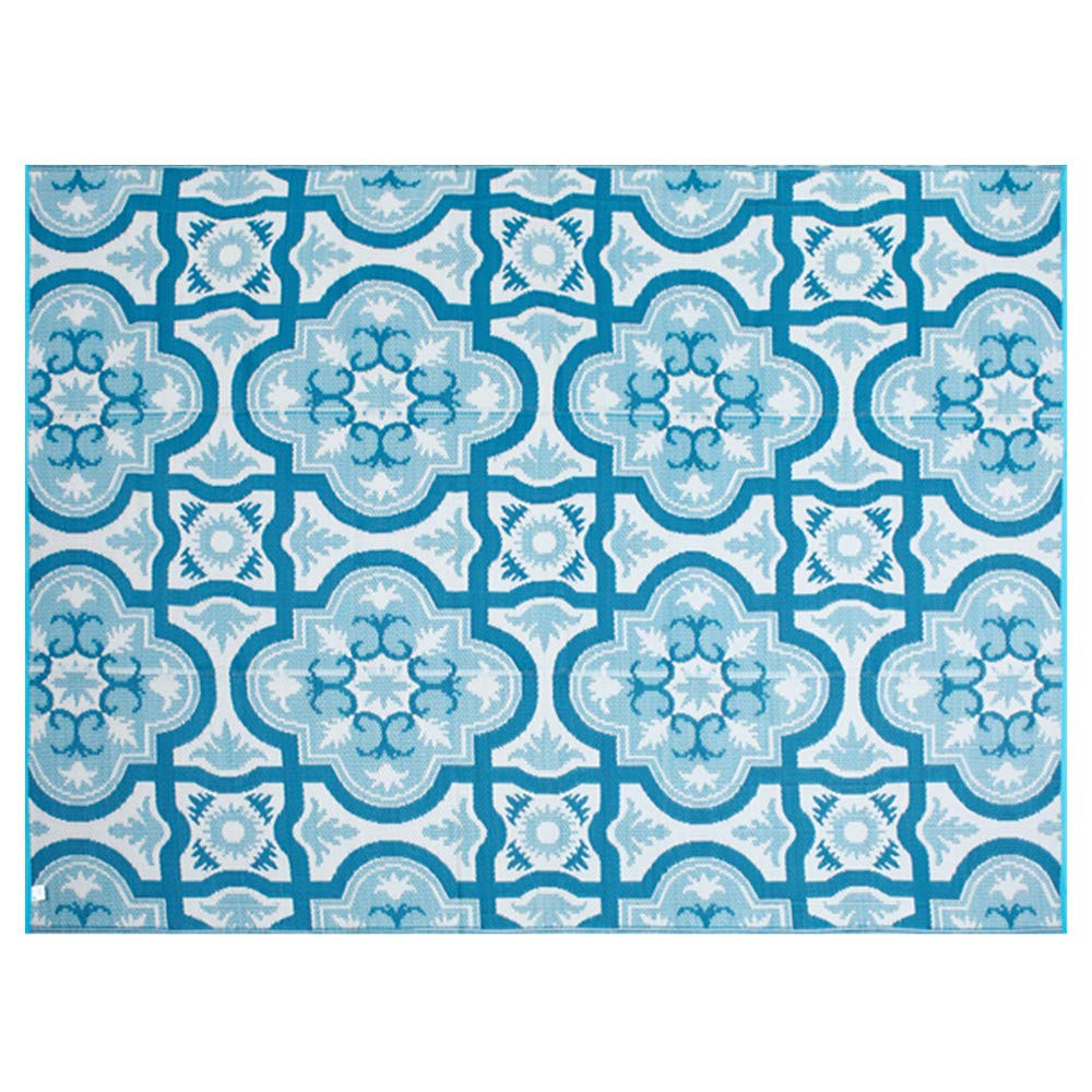 Smart Design Reversible Outdoor/Indoor Plastic Rug/Mat, Easy to Clean and Fold,Perfect for RV,Deck,Patio,Camping,Pianic and Beach.(Blue,8x10)