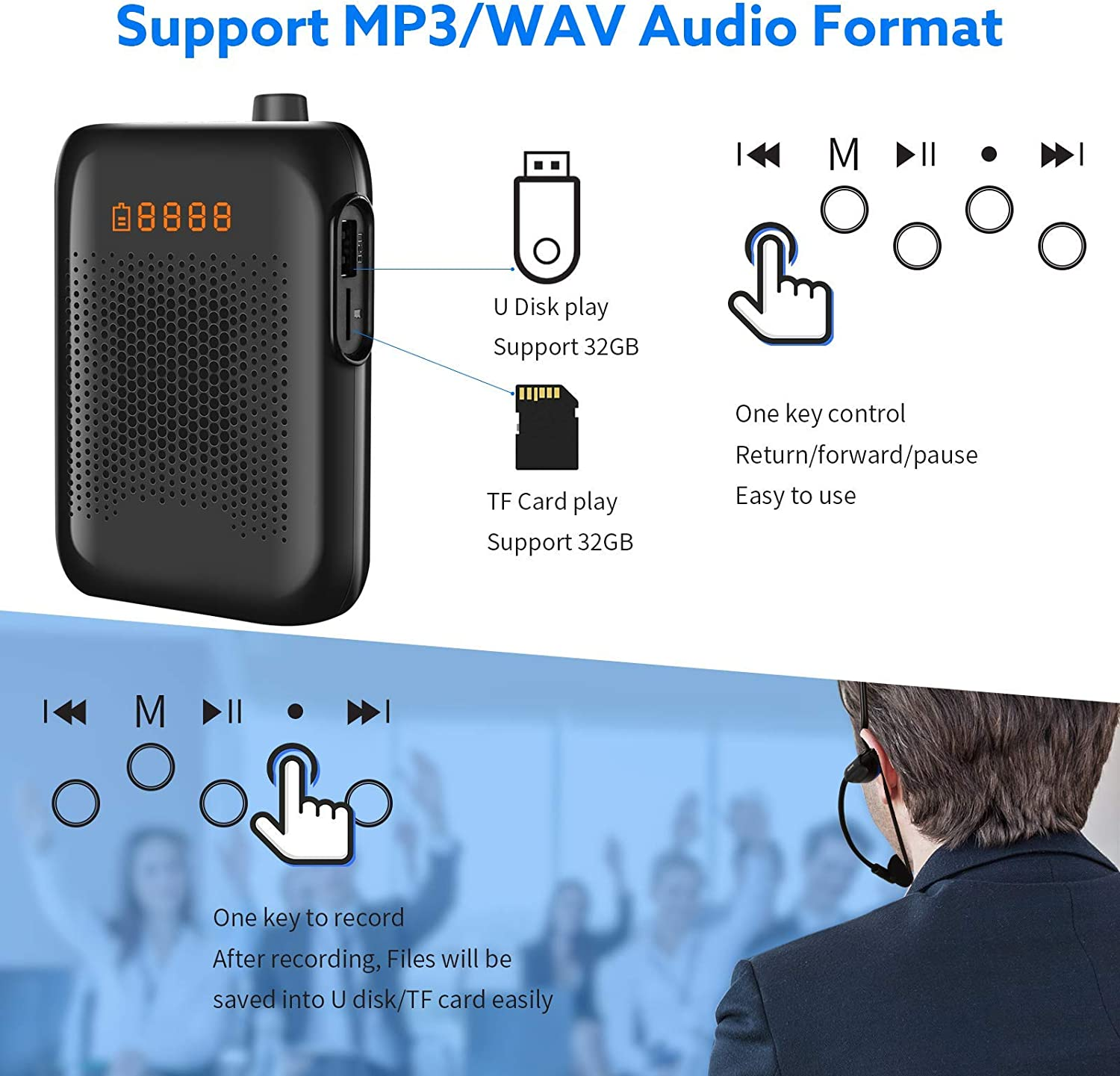 2000mAh Battery Classroom Meetings and Outdoors and Waistband Tour Guide Mini 20W USB Loundspeaker with Sound-amplifying Wired Microphone Headset Portable Voice Amplifier for Teachers