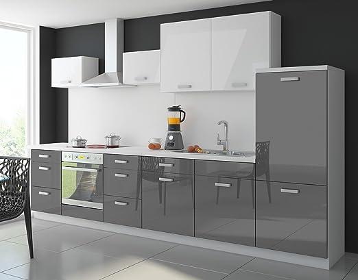 Küche color 340 cm küchenzeile küchenblock einbauküche in hochglanz grau weiss amazon de küche haushalt