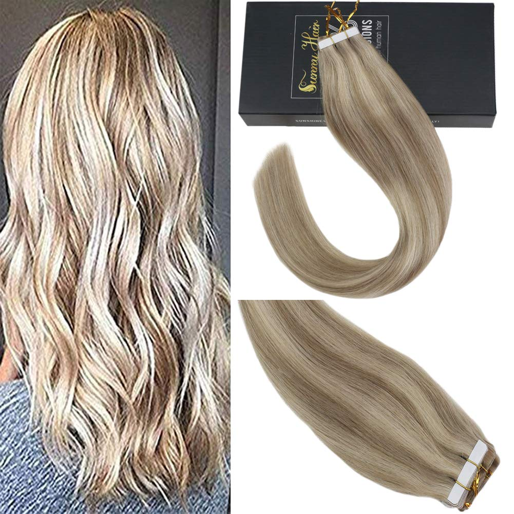Sunny 18 inch Hair Tape in Extensions Blonde #16 mixed #22 Golden Blonde Highlights Hair Extensions Real Human Hair Tape in Remy Hair Extensions 20 PC 50G/Pack by Sunny Hair