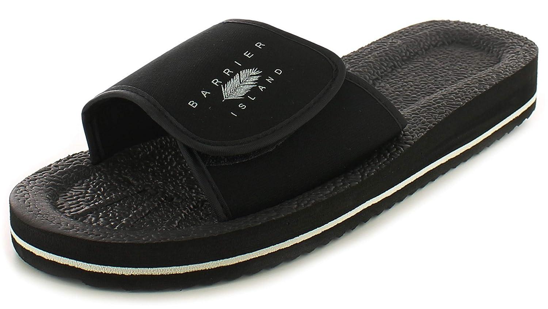 Neu Herren Schwarz Slipper Duschschuhe Klettverschluss Flip Flops UK Größe
