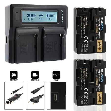Blumax 2X Gold Edition Akku ersetzt Sony NP-FM500H 2040mAh + Doppel-Ladegerät Dual Charger | kompatibel mit Sony Alpha DSLR/S