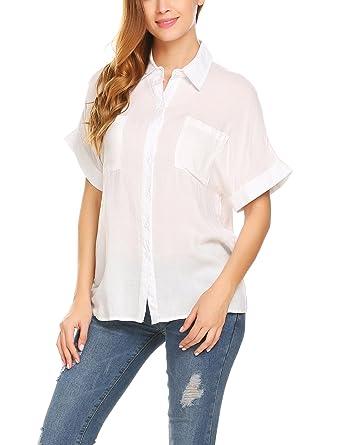 fbdcce46f2d5f Venena Women's Chiffon Long Sleeve Button Down Casual Shirt Blouse Top