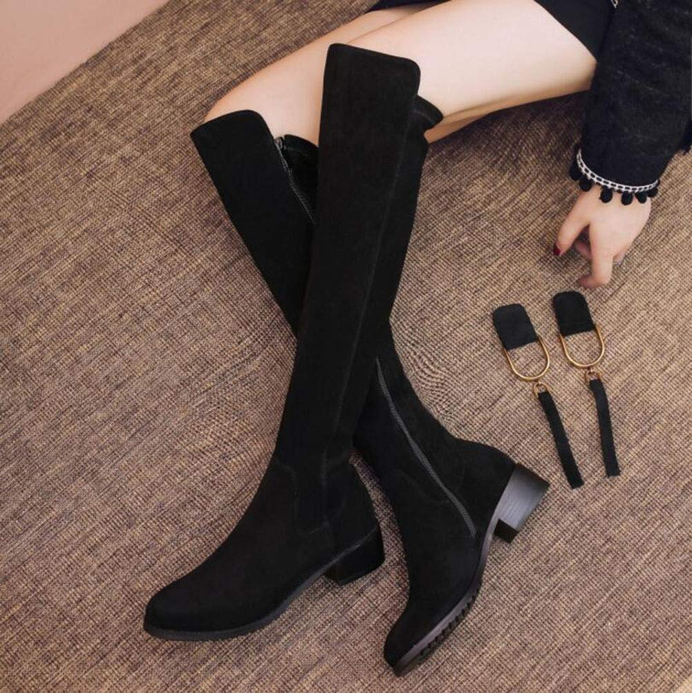 YaXuan Womens Long Boots Color : Black, Size : 37 Round Head Low Heel Boots Autumn and Winter New Elastic Stovepipe Large Size Side Zipper Martin Boots
