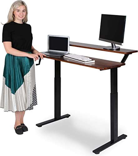 SDADI Crank Adjustable Standing Desk,2 Tier Sit to Stand Office Desk with Heavy Duty Steel Frame and Solid Wood Desk Top, Black Frame Teak Top