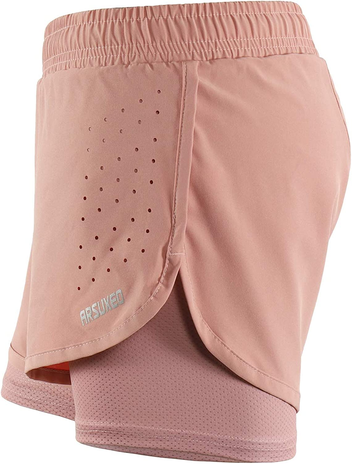 ARSUXEO Womens 2 in 1 Running Shorts Athletic with Pockets B1101