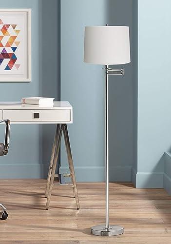 Modern Floor Lamp Swing Arm Brushed Nickel White Hardback Drum Shade