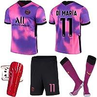 QQJJ 2021 The New Paris Jersey Away Game rosa lila fotbollströja Neymar No. 10 Mbappe No. 7 vuxen barn tröja
