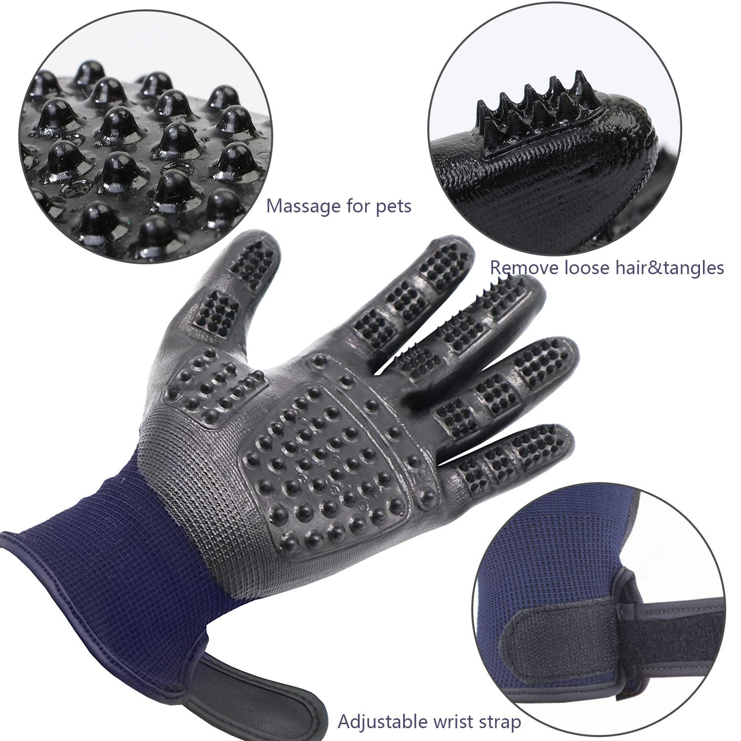 MMTX Pet Massage Gloves - 1 Pair Rubber Deshedding Brush Glove Pets Hair Remover Mitts Pet Bath Grooming Massage Tool for Cats and Dogs with Long & Short Fur by MMTX (Image #5)