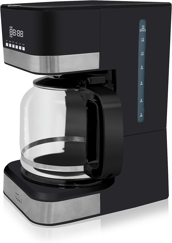 Sytech Cafetera eléctrica de Goteo con función de Temporizador, Negro, 15 Tazas - 1.8L: Amazon.es: Hogar