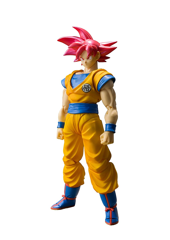 Bandai - Figurine DBZ - Son Goku Super Saiyan God Cheveux Rouge SH Figuarts 14cm - 4549660175643 B072JF5173