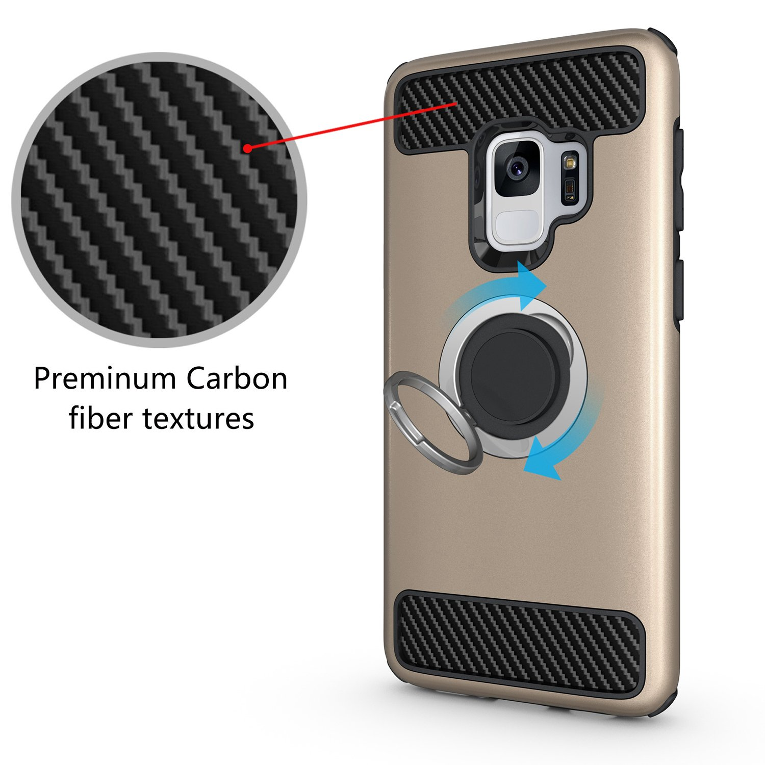 Armor Dual Layer 2 in 1 and Finger Ring Holder Kickstand Fit Magnetic Car Mount for Samsung Galaxy S9 Plus-Black Newseego Compatible Samsung Galaxy S9 Plus Case