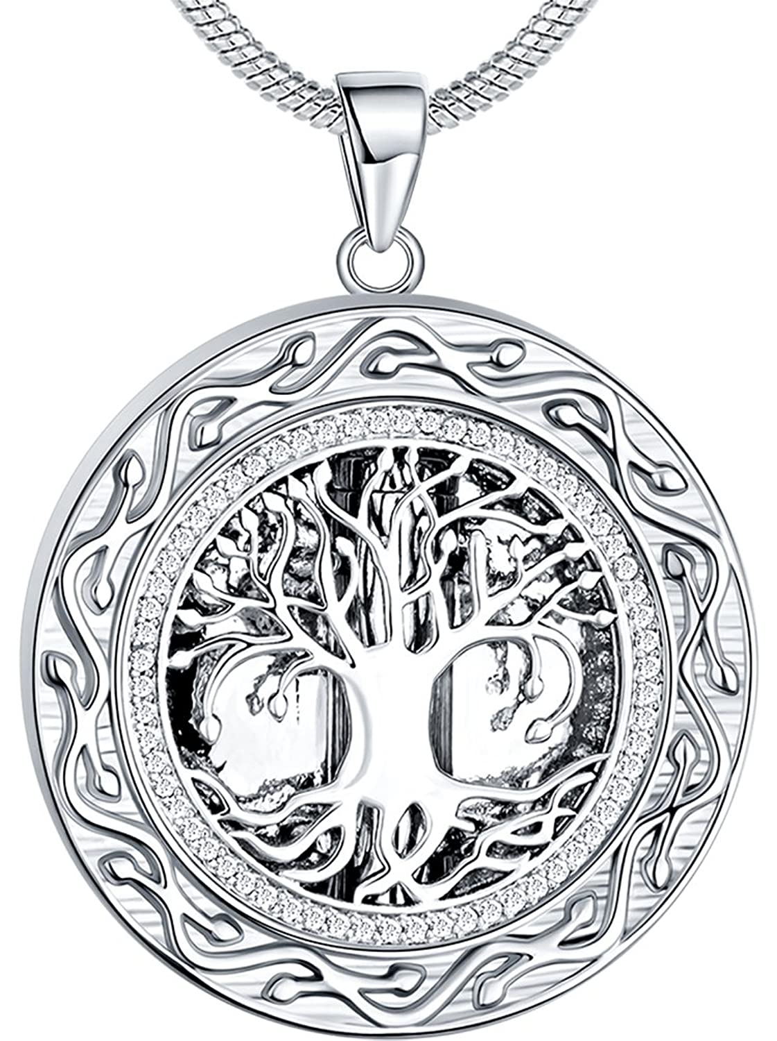 "♥Memorial Gift♥ Ado Glo ""Always in My Heart"" Urn Locket Pendant Necklace - ""Tree of Life"" Cremation Jewelry for Ashes - Keepsake for Mom Dad Sister Grandma Aunt Wife Daughter"