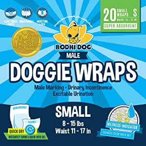 Bodhi Dog Disposable Male Dog Wraps | 20 Premium Quality Adjustable Doggie Wraps with Moisture Control and Wetness Indicator | 20 Count