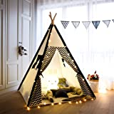 Tree Bud Kids Teepee Play Tent Cotton Canvas Child Indian Teepee Tent with White and Black Stripe Playhouse for Kids Indoors Outdoors with Carry Bag