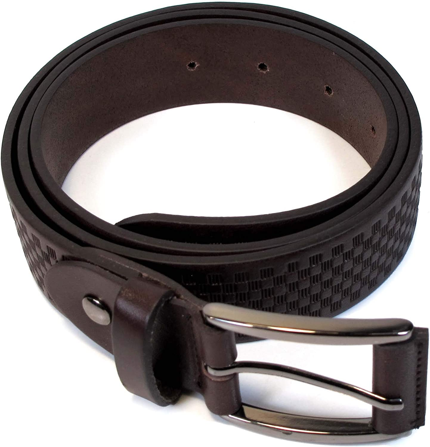 CM3 Mens Real Genuine Leather Dark Brown Belt 1.25 Wide S-XL Thick Casual Jeans