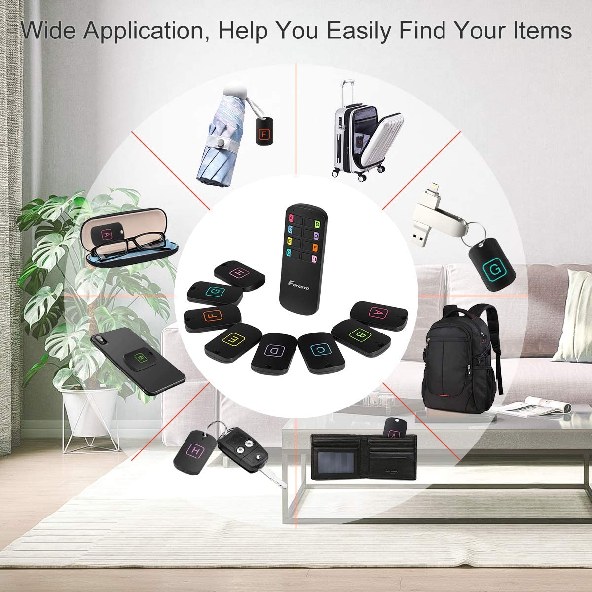 Key Finder Locator, 164FT Remote 100 dB Beeping Sound Wireless Long Lasting Batteries Wallet Key Phone Glasses Tracker