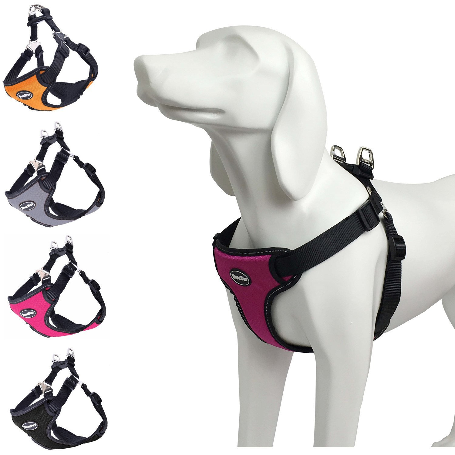 BINGPET No Pull Dog Harness Reflective for Pet Puppy Freedom Walking Hot Pink L