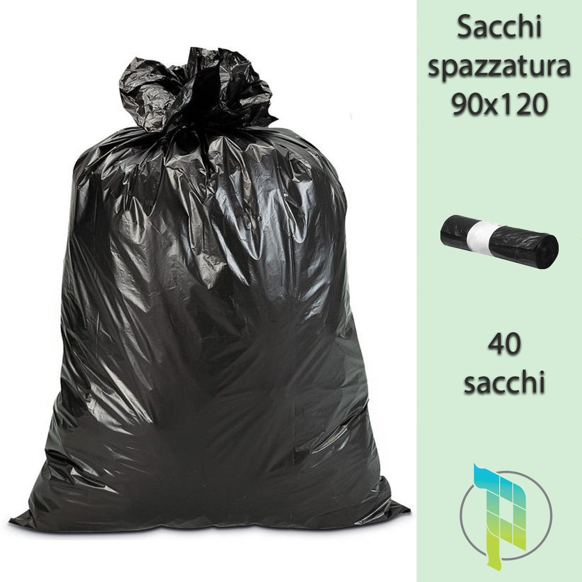 Large Strong palucart® Black Bin Bags 90 x 120 cm 120 Litre 40 Pieces