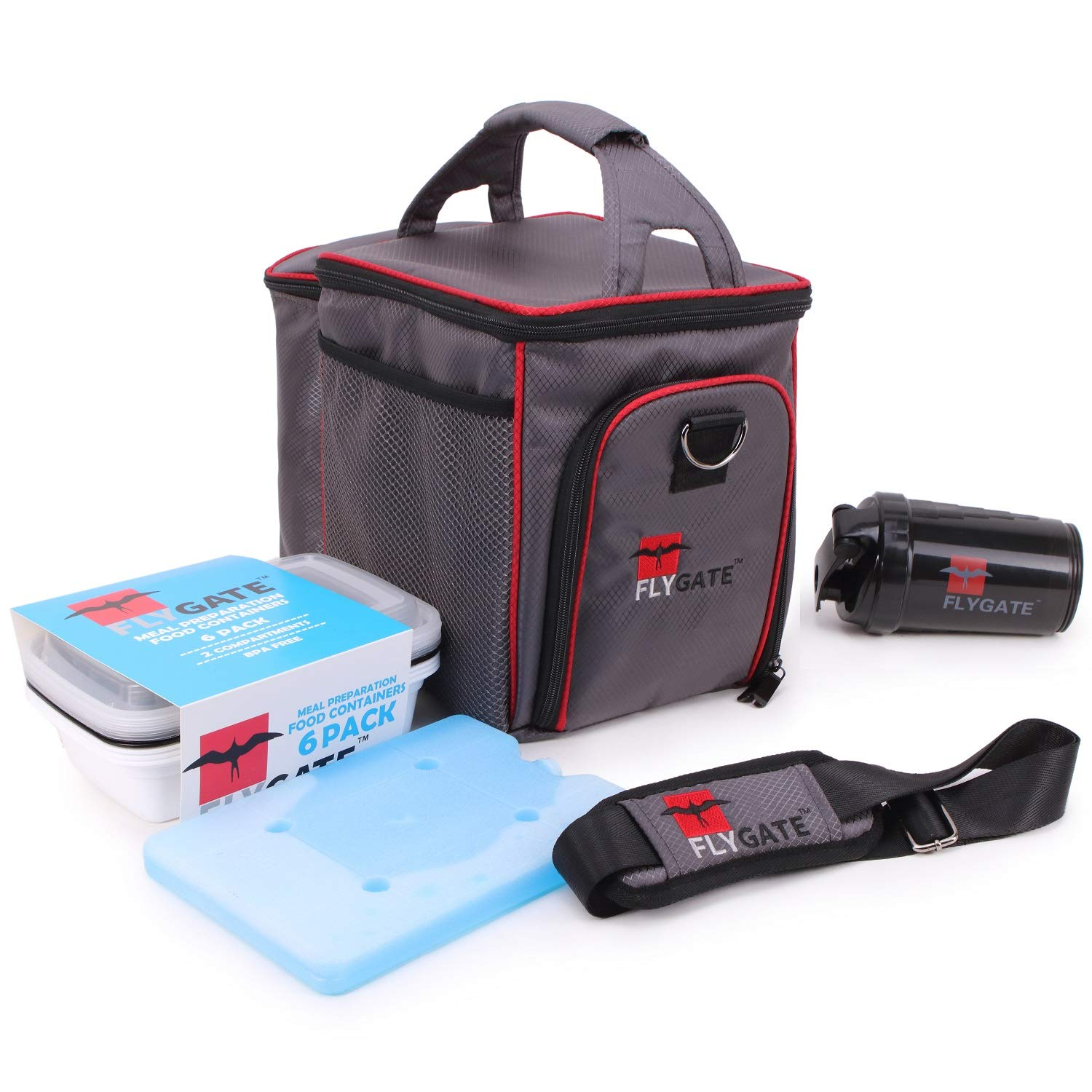 Chapter: Stay Healthy. Insulated Meal Prep Bag - Thermal Cooler bag lunch box system w/ 6x portion control containers, shaker bottle w/ agitator and reusable ice pack for travel, work, gym or picnic