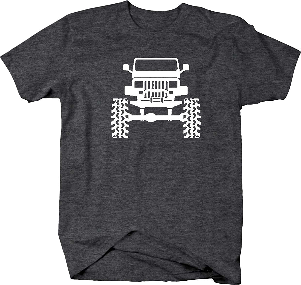 Jeep lifted wrangler yj square lights offroad mens t shirt for Wrangler mens shirt size chart