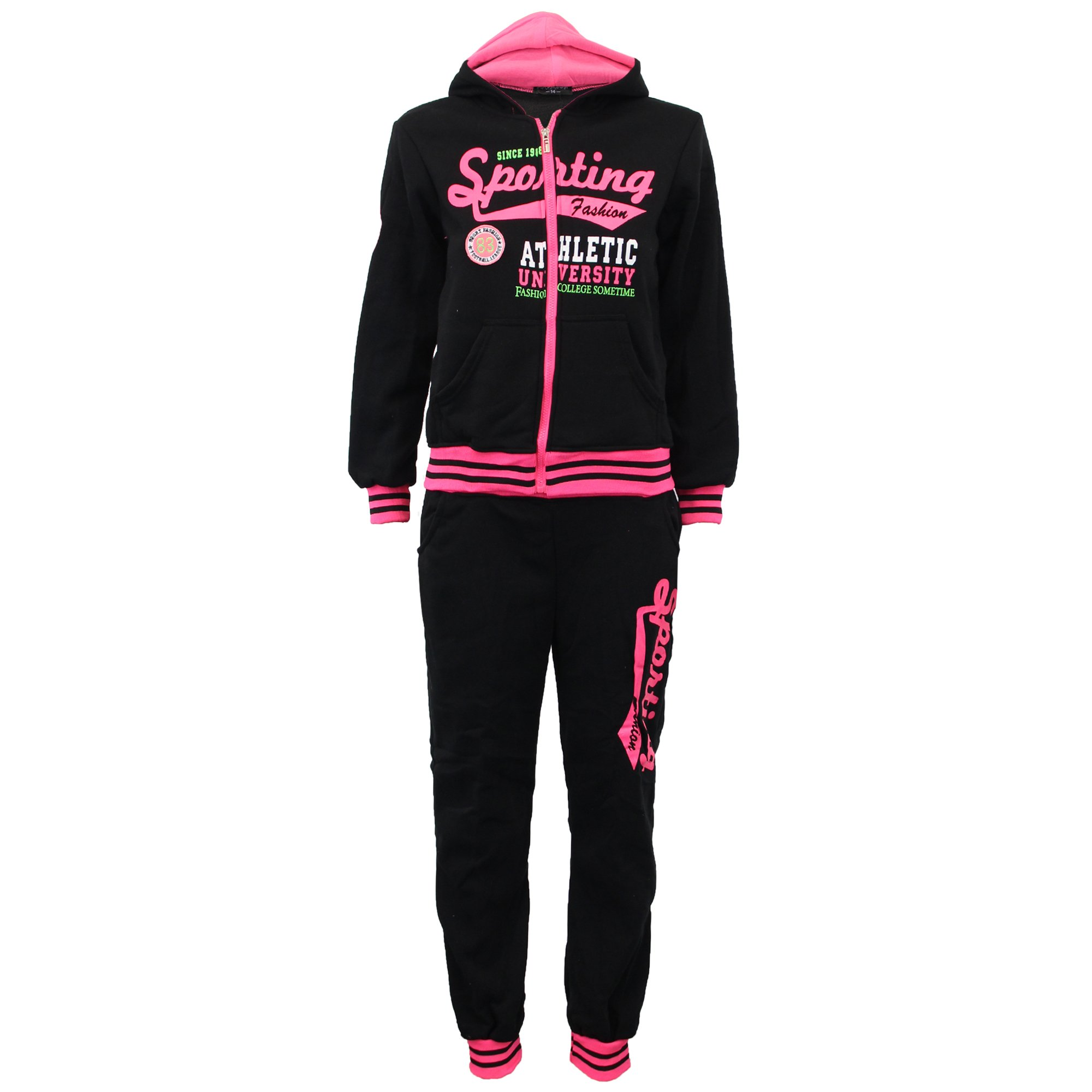 Boys' Tracksuit C73 Black/Fuchsia Size 14 10/11 Years by Unknown (Image #1)