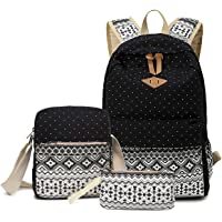Abshoo Canvas Dot Backpack Cute Teen Girls Backpacks Set 3 Pcs School Bookbags