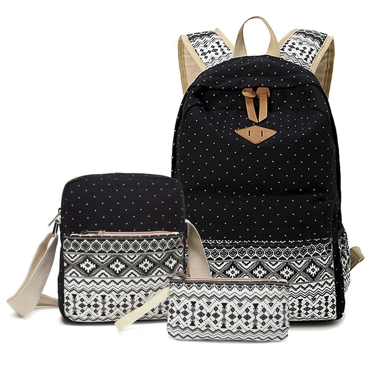332c720e49 Abshoo Canvas Dot Backpack Cute Lightweight Teen Girls Backpacks School  Shoulder Bags (Black)