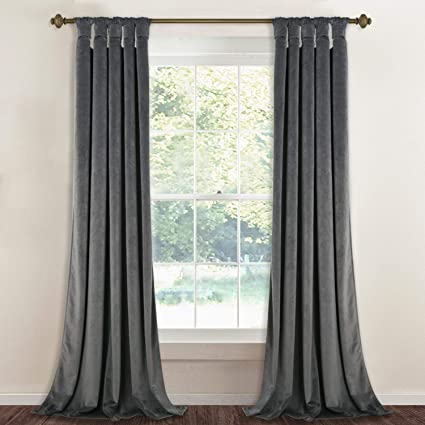 7160e072dbb Luxury Velvet Curtains Gray 96-inch - Modern Twist Top Design Super Soft  Thick Velvet