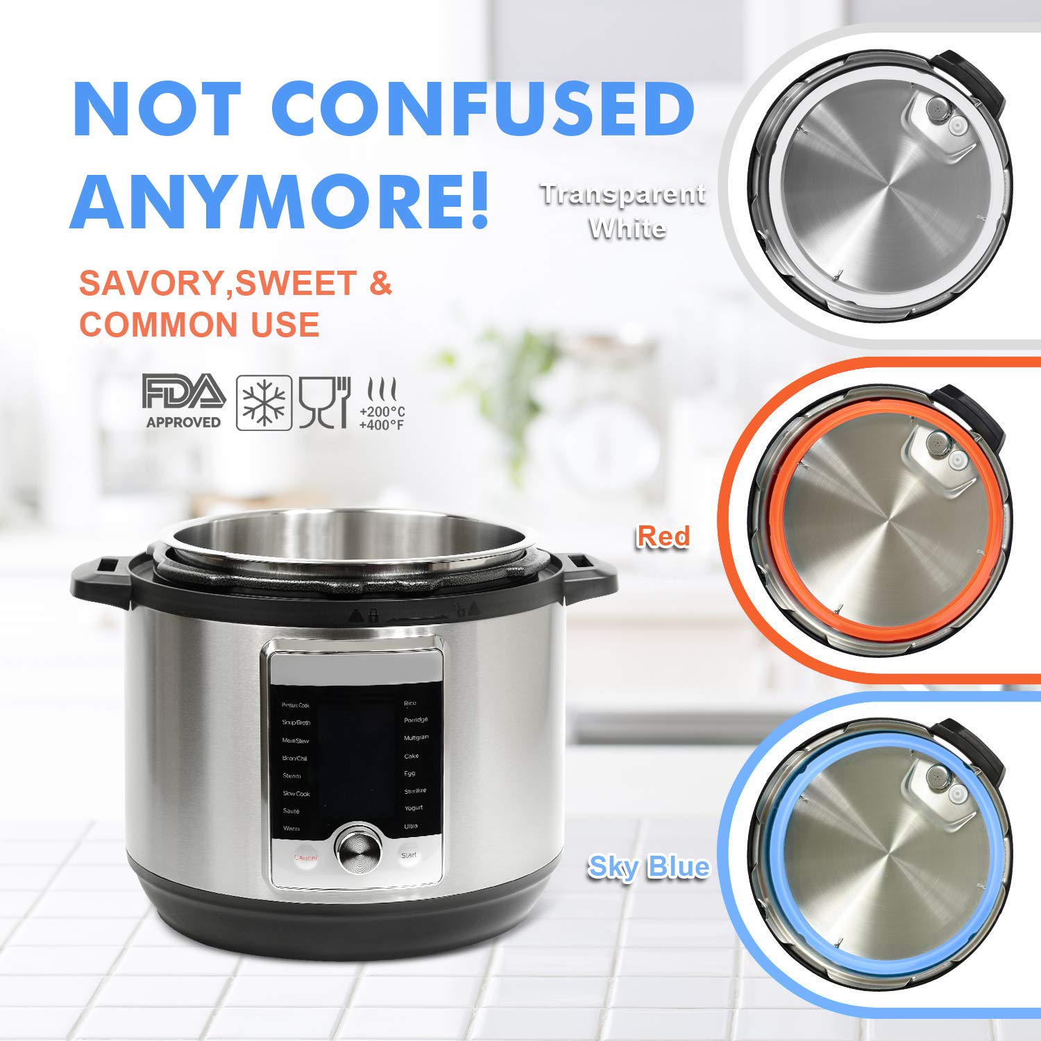 Pots & Pans Blue and White Leak Proof FITNATE Silicone Sealing ...