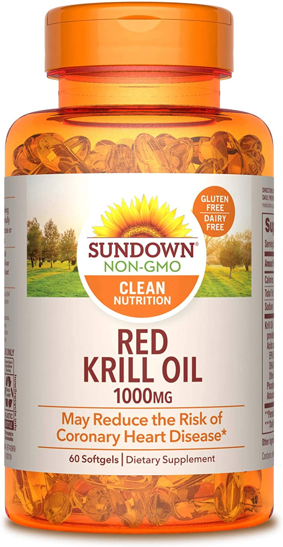 Sundown Triple Strength Red Krill Oil 1000 mg, 60 Softgels (Packaging May Vary)