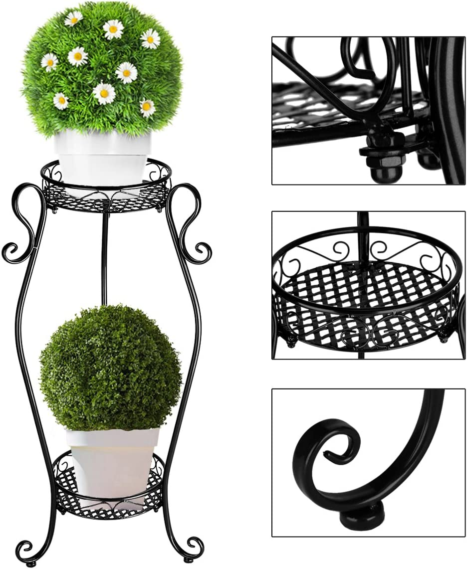 BXD Metal Tall Plant Pot Stand Flower Stand Iron Rack Indoor//Outdoor Display 2 Tiers for Living Room//Parlor,Home//Office,Balcony Decorations Black