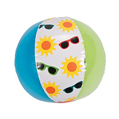 "Fun Express - ""Summer Print Beach Ball 14"""" for Summer - Toys - Inflates - Beach Balls - Summer - 12 Pieces: Toys & Games"