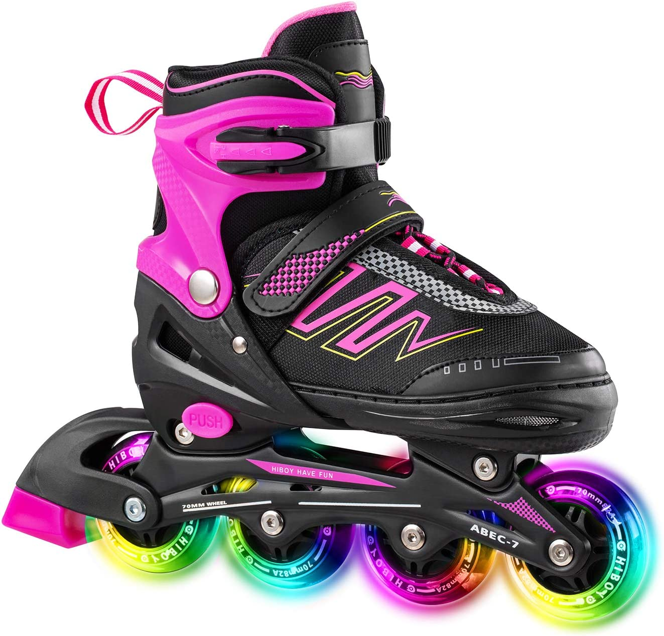 Hiboy Adjustable Inline Skates with All Light up Wheels, Outdoor & Indoor Illuminating Roller Skates for Boys, Girls, Beginners