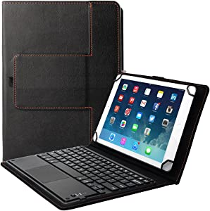 """Eoso TouchPad Keyboard case for Tablets,2-in-1 Bluetooth Wireless Keyboard with Touchpad & Leather Folio Cover (7-8"""", Black)"""